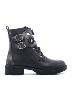 ANKLE BOOT LACE AND 2 BUCKLES BLACK BLACK